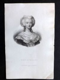 Bentley 1895 Antique Portrait Print. Marie Antoinette.